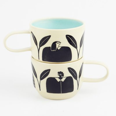 Mug – Women and leaves, Blue