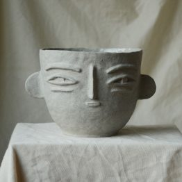 Eleanor ceramic vase with a face