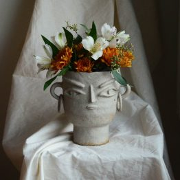 Stella ceramic vase with a face